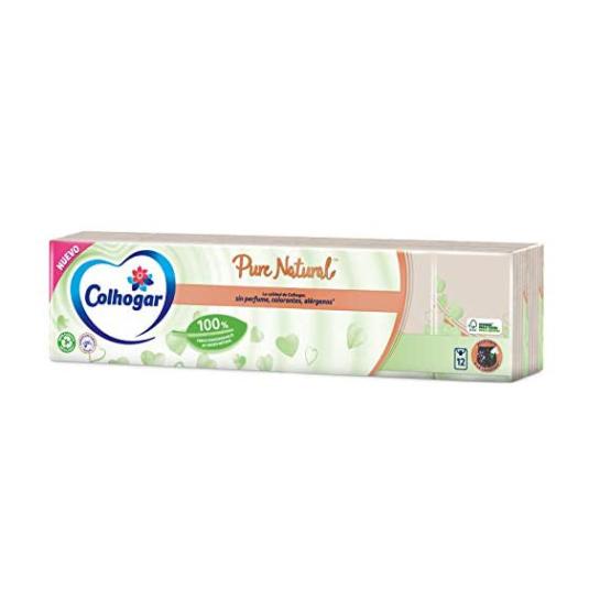 colhogar paquete pañuelos pure natural 12 paquetes x 8 unidades