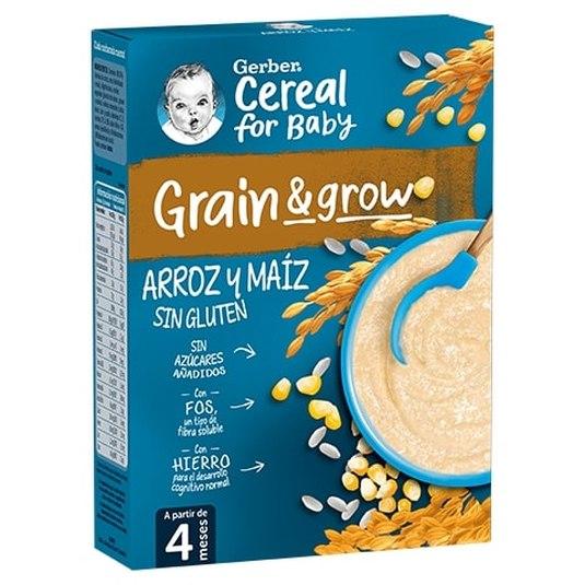 gerber papillas de cereales para bebes arroz y maiz sin gluten 250g