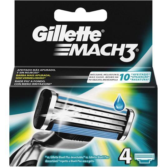 gillette mach3 cuchillas maquinilla de afeitar hombre para hombre 4 recambios