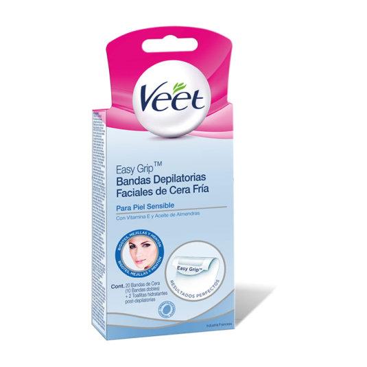 veet bandas de cera depilatoria facial para pieles sensibles 20uds