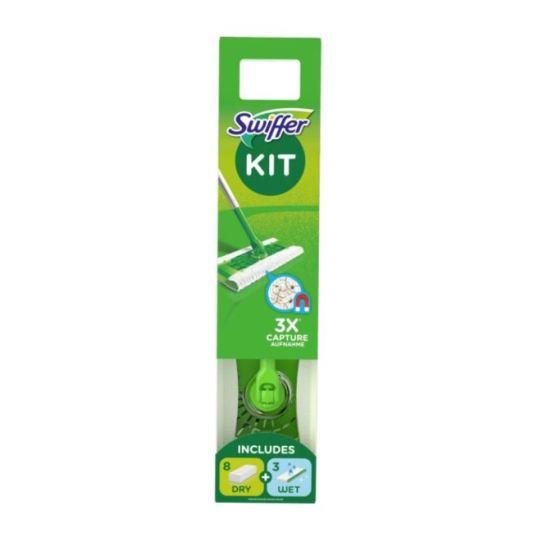 swiffer kit mopa + 8 recambios secos + 3 recambios humedos