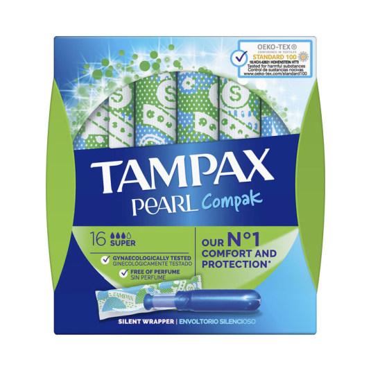 tampax compak pearl tampones c/aplicador super 16 unidades