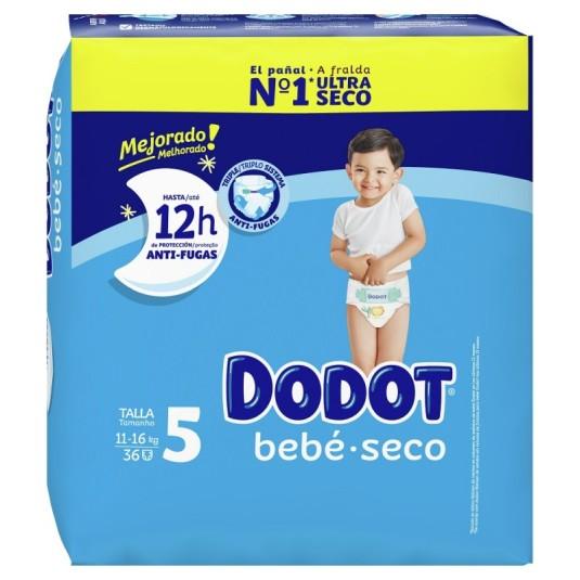 dodot pañal bebe-seco talla 5 (11-16 kg) 36 unidades