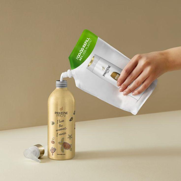 pantene repara-protege champu bote reutilizable metalica 430 ml.
