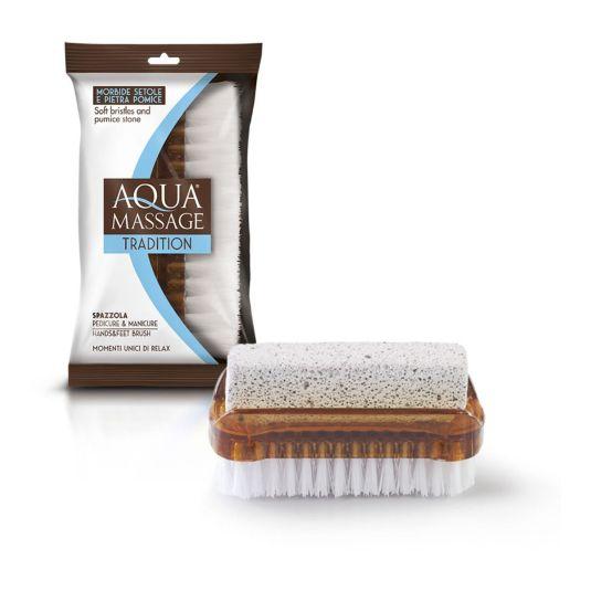 aquamassage cepillo uñas 2 en 1 + piedra pomez