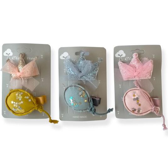 set 2 clips pelo niña corona y globo de tela