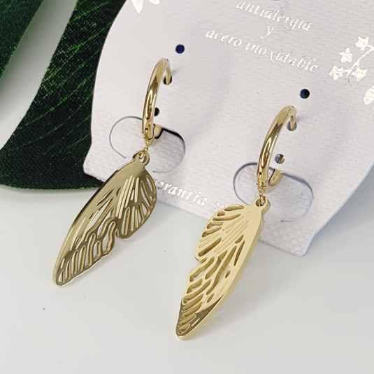 pendientes colgantes dorados aro + ala de mariposa 1 par