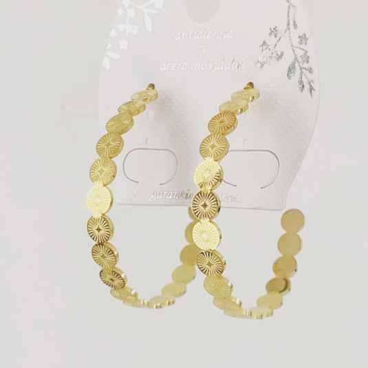 pendientes aro dorado largo diseño bolas 1 par