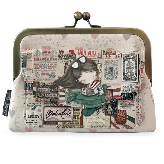 monedero vintage sweet candy pilot girl cierre clic
