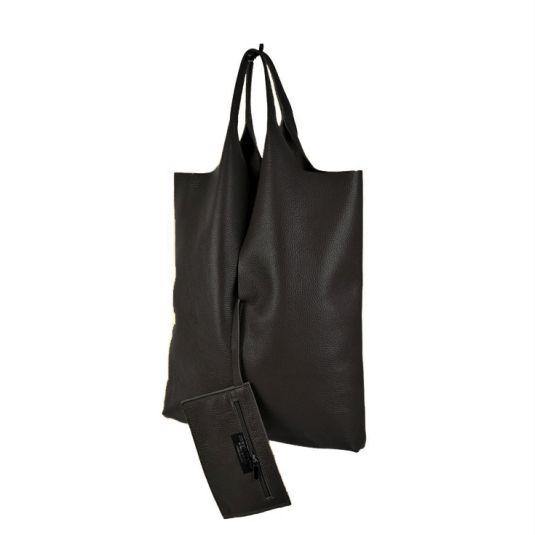 bolso shopper cuero negro