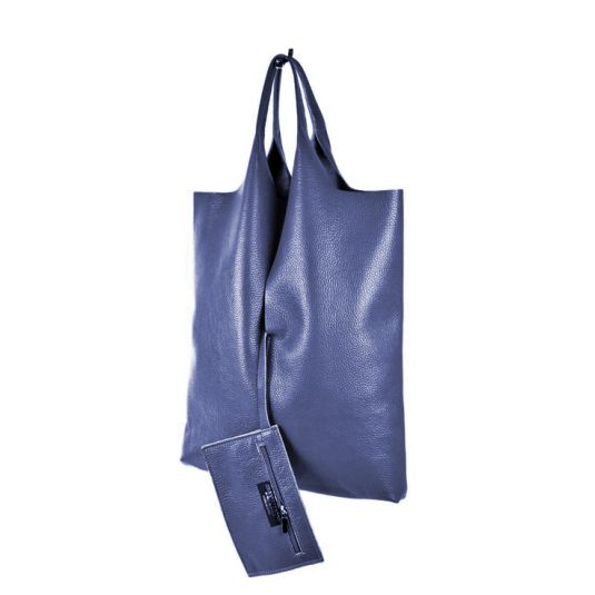 bolso shopper cuero azul marino