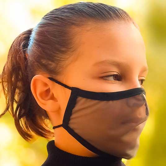 mascarilla transparente higienica reutilizable negra