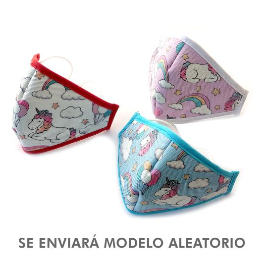 shausa mascarilla infantil unicornio protectora reutilizable en blister autocierre