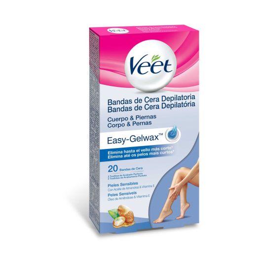 veet bandas de cera depilatoria cuerpo y piernas piel sensible 20uds