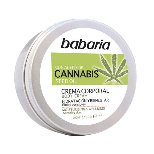 babaria aceite de semilla de cannabis crema corporal hidratante y bienestar 200ml