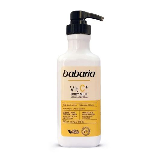babaria vic c+ body milk vitamina c dosificador 500ml