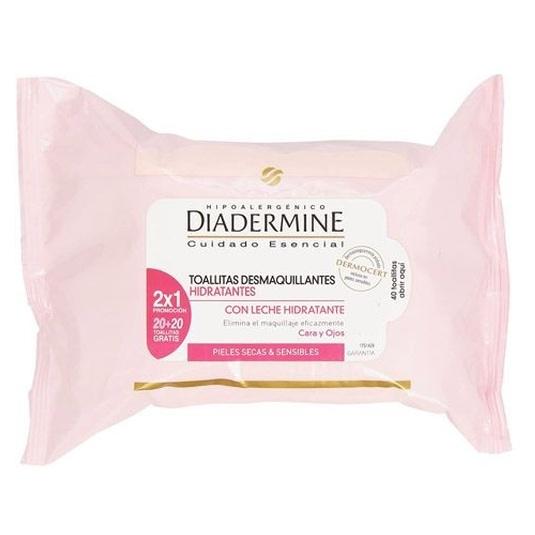 diadermine toallitas desmaquillantes hidratantes 2x1 20+20uds