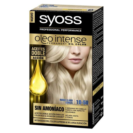 syoss oleo intense tinte permanente sin amoníaco 10.50 rubio claro ceniza