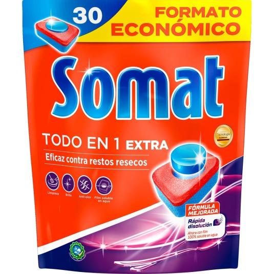 somat detergente lavavajillas todo en 1 extra 30 pastillas