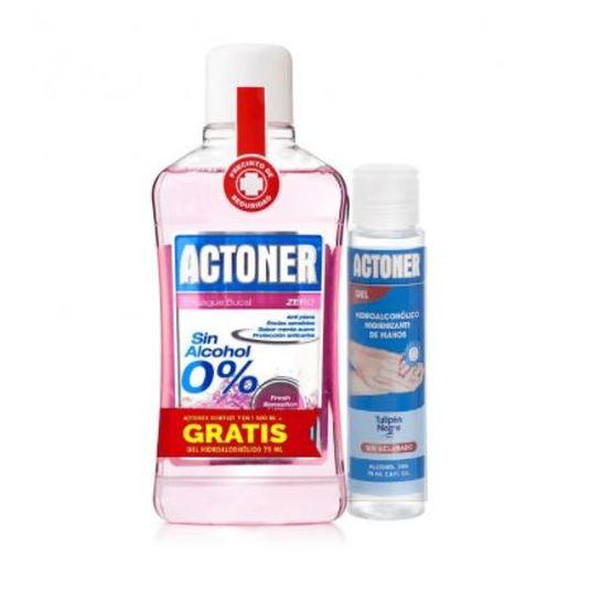 actoner enjuague bucal zero 500ml + regalo gel hidroalcoholico 75ml