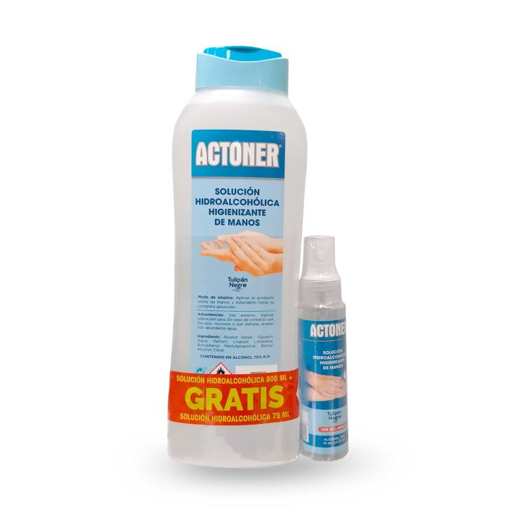 actoner solucion hidroalcoholica higienizante de manos 800 ml+ mini gratis 75ml
