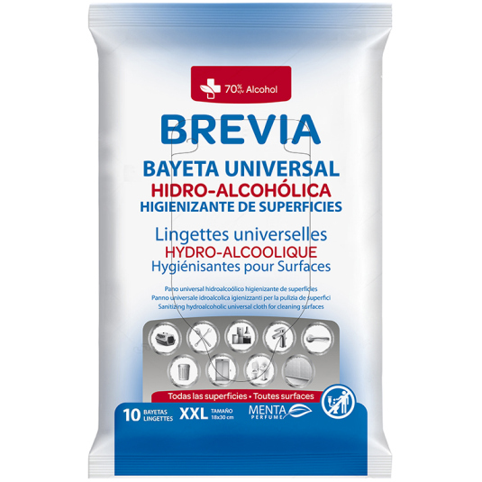 brevia bayeta hidroalcoholica higienizante superficies 10unds