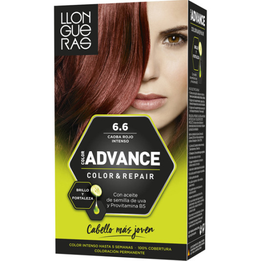 llongueras color advanced tinte permanente nº 6.6 caoba rojo intenso