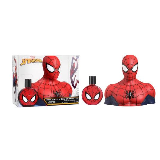 marvel spiderman colonia 50ml + figura hucha 3d