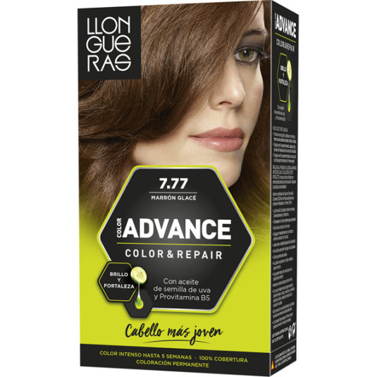 llongueras color advanced tinte permanente nº 7.77 marrón glacé