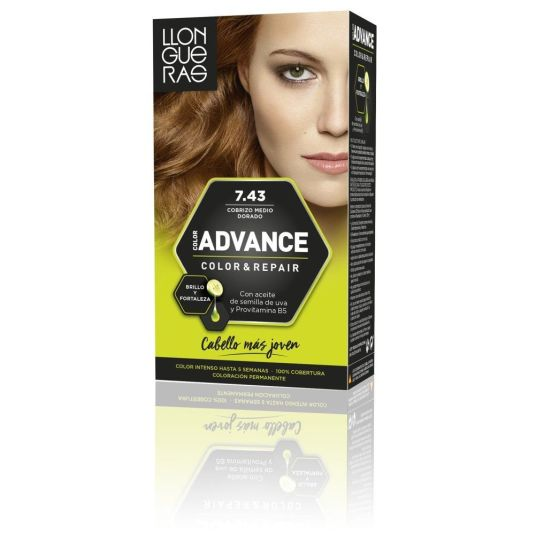 llongueras color advanced tinte permanente nº 7.43 cobrizo medio dorado