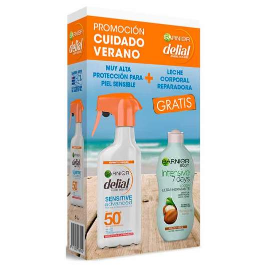 delial sensitive advanced protector solar niños 300ml + leche corporal garnier 250ml