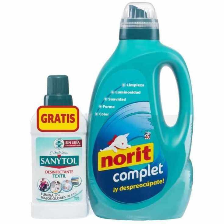 norit complet 40 lavados + sanytol desinfectante textil 500ml gratis