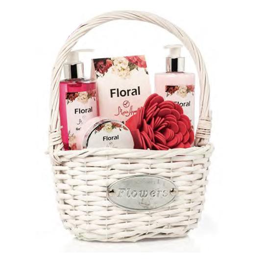 shausa set baño fragancias floral en cesta mimbre 6 piezas