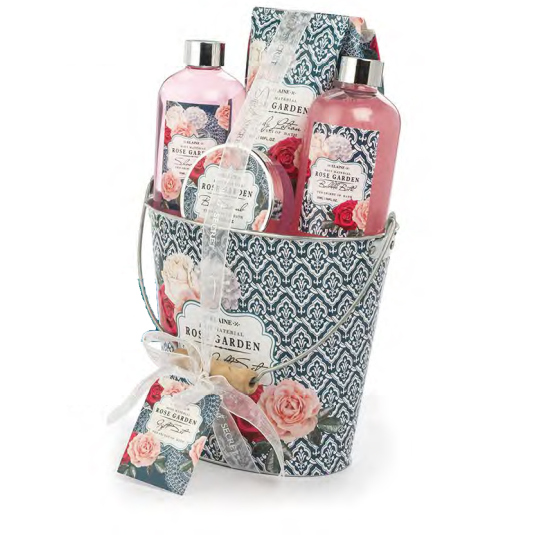 shausa set baño agua de rosas cubo 6 piezas