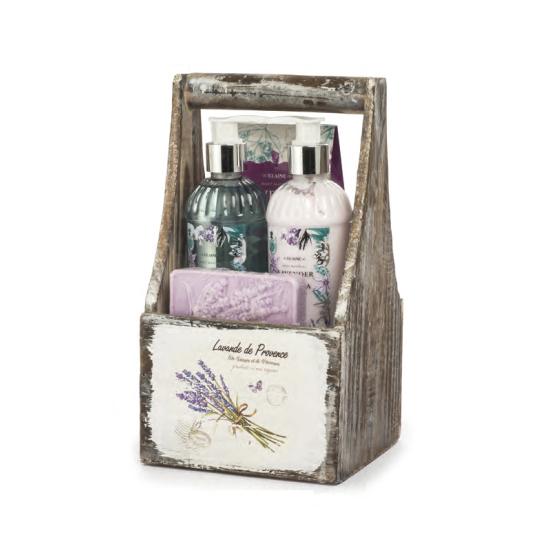 shausa set baño lavande de provence cesta madera 6 piezas