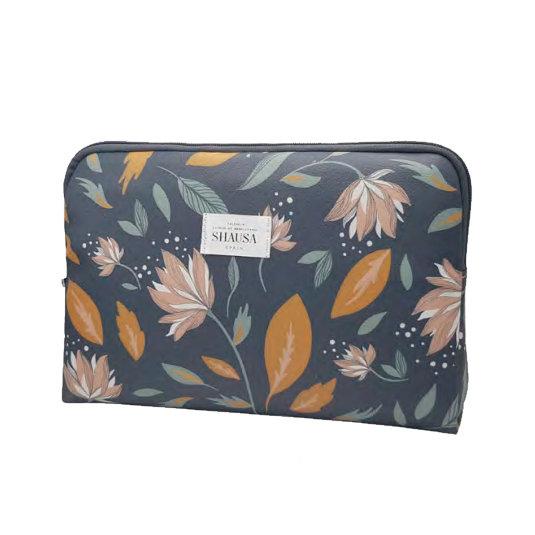 neceser portafolio estampado floral 37x7x21cm