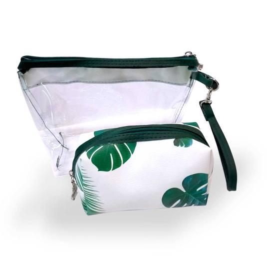 shausa pack neceseres 1 transparente + 1 neceser pequeño hojas verde