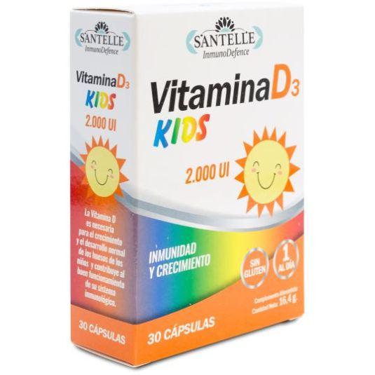 santelle vitamina d3 kids para niños 545mg 30 capsulas