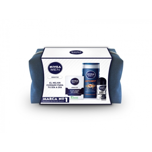 nivea set men sensitive set 3 piezas + neceser