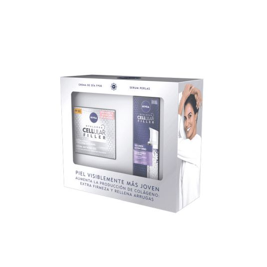 nivea cellular filler set crema spf30 + serum perlas