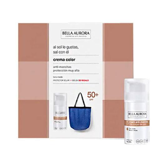 bella aurora cc cream anti-manchas tono claro spf50 30m+ regalo bolso playa