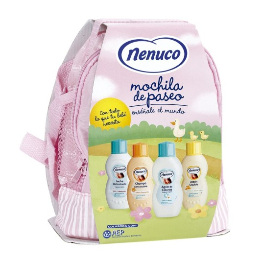 nenuco mochila rosa de paseo set 4 productos