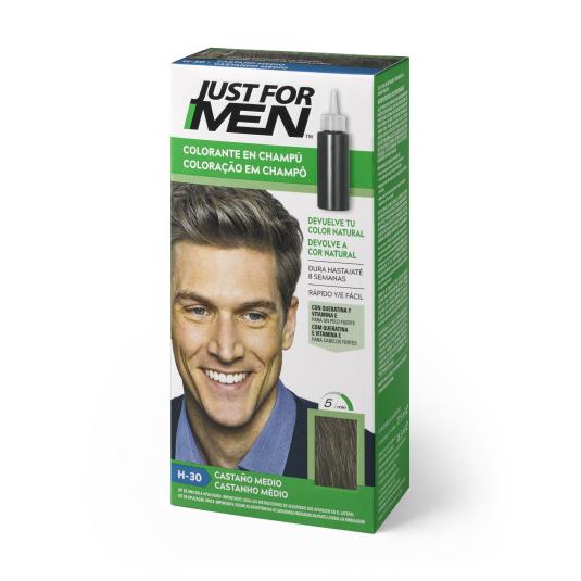 just for men colorante en champu castaño medio 30ml