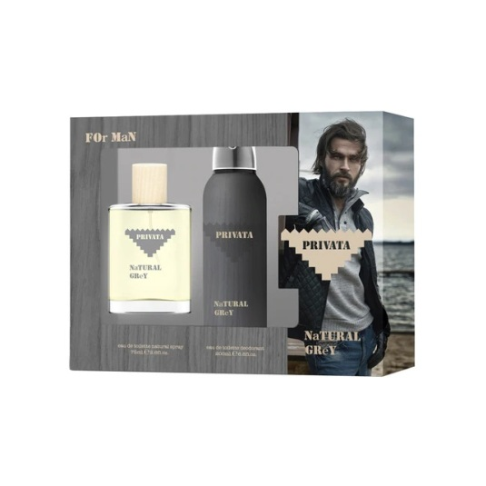 privata natural grey man 75ml estuche de regalo 2 piezas