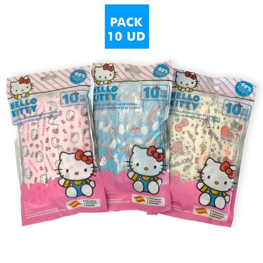mascarillas higienicas infantiles hello kitty pack 10 unidades