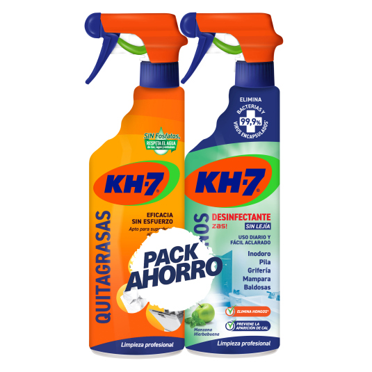 pack kh7 quitagrasas pistola 750ml + zas baños 750ml