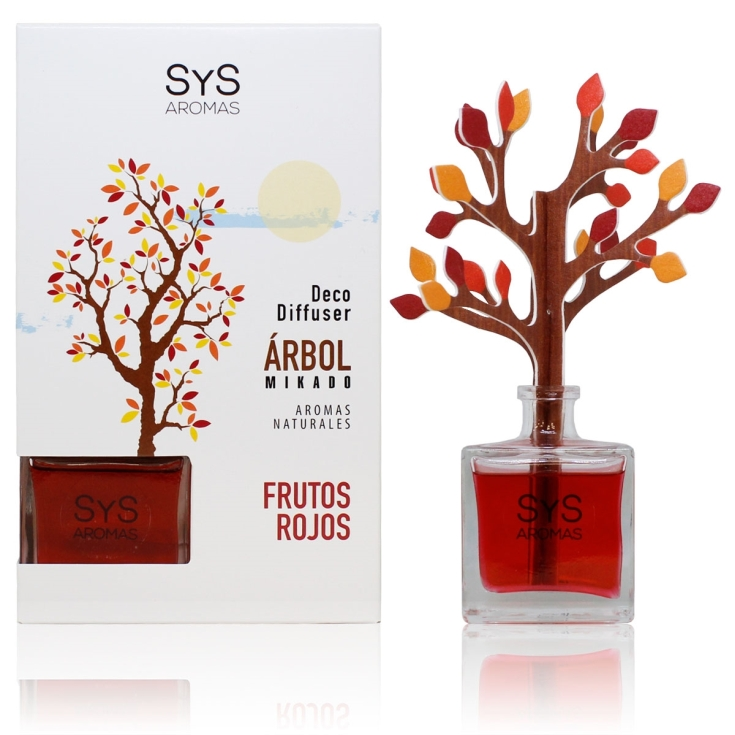 SYS mikado ambientador arbol 3d frutos rojo 90ml
