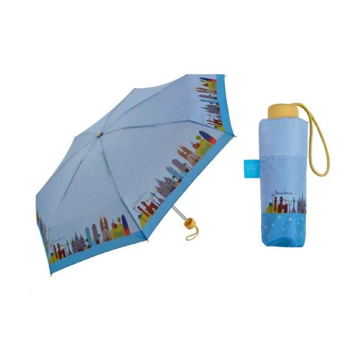 paraguas plegable pequeño lovely streets barcelona 18cm