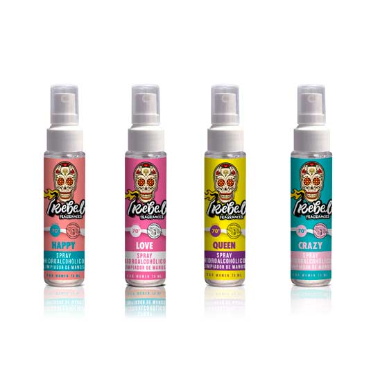 rebel fragances higienizante de manos perfumado spray 75ml
