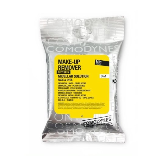 comodynes make-up remover toallitas desmaquillantes micelares piel seca 20ud